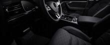 Luxury Car  Black Interior. Steering Wheel, Shift Lever And Dashboard.
