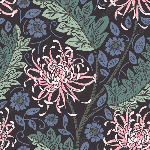 Photo Art and Craft Inspired Floral Vintage Enchanted Vector Pattern