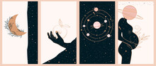 Collection Of Space And Mysterious Illustrations For Stories Templates, Mobile App, Landing Page, Web Design In Hand Drawn Style. Magic, Occultism And Astrology Concept.