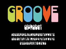 Vector Of Stylized Retro Alphabet Design With Uppercase, Lowercase, Numbers And Symbols
