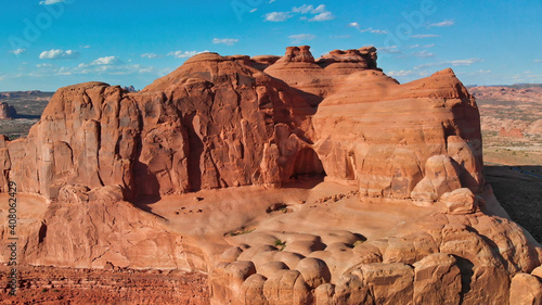 Fotografia Park Avenue aerial view from helicopter in summer season, Arches National Park,