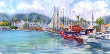 Watercolor Yachts In Bodrum Harbor. Yachts In The Port, Sea Bay. Town On The Coast Of Aegean Sea. Illustration, Traditional Painting.