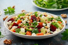 Healthy Butternut Squash Salad With Beetroot, Avocado, Walnut And Feta Cheese In White Bowl