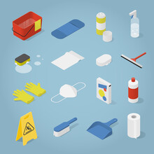 Isometric Cleaning Objects Set