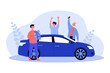 Happy guy getting car as birthday present. Vehicle, friend, grandfather flat vector illustration. Holiday and celebration concept for banner, website design or landing web page