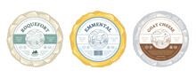 Vector Cheese Round Labels And Cheese Wheels Wrapped In Paper. Cow, Sheep, And Goat Illustrations