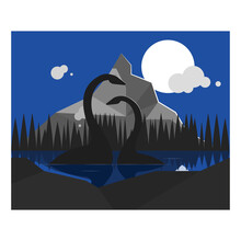 A Couple Of Loch Ness Monsters In A Lake In Full Moon Night. Flat Style Illustration.