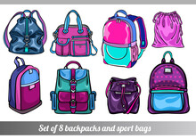 Collection Of 8 Vector Illustrations Of Stylish Sportive Backpack Bags In Various Sizes, Types And Shapes, In Pink And Blue Colors, In Hand Drawn Style For Custom Design, Print, Pattern, Stickers.