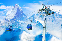 Amazing Beautiful View Of Gornergrat, Zermatt, Matterhorn Ski Resort In Switzerland With Cable Chairlift Transport