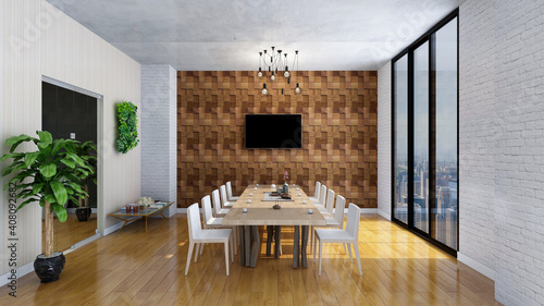 Obraz Modern office conference room, photorealistic 3D Illustration of the interior, suitable for using in video conference and as a zoom background. - fototapety do salonu