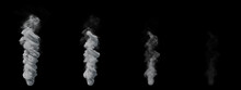 A Collection Set Of Smoke Stream Rise Tornado Isolated On Black Background.3D Render Illustration.