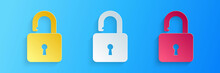 Paper Cut Open Padlock Icon Isolated On Blue Background. Opened Lock Sign. Cyber Security Concept. Digital Data Protection. Safety Safety. Paper Art Style. Vector.