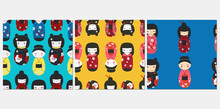 Kokeshi Dolls Seamless Pattern Set Vector Illustration. Japan Culture Souvenir Texture Design Collection. Asian Symbol, Toy In Kimono Dress Background.