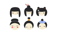 Isolated Kokeshi Doll Heads Collection. Set Of Various Traditional Japan Culture Symbols. Cute Geisha, Samurai Toy Icons Cartoon Clipart.