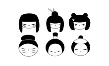 Isolated Kokeshi Doll Heads Transparent Outline Collection. Set Of Various Traditional Japan Culture Symbols. Cute Geisha, Samurai Toy Icons Cartoon Clipart.