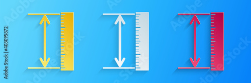 Obraz Paper cut The measuring height and length icon isolated on blue background. Ruler, straightedge, scale symbol. Geometrical instruments. Paper art style. Vector. - fototapety do salonu