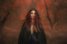 Fantasy Gothic Woman Dark Witch. Red-haired Evil Girl Demon In Black Dress Cape Hood. Long Hair Flutters Fly In Wind. Dark Dense Deep Autumn Forest Orange Colors Trees. Medieval Dress, Silk Clothes
