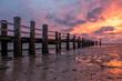 canvas print picture - Sonnenuntergang am Strand von Utersum, Föhr