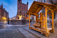 Christmas Wooden Nativity Scene In The Old Town Of Gdansk At Dawn, Poland.