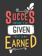 Motivational Quotes Succes For TShirt Design Vector Vintage