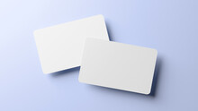 Rounded Corners Business Cards Mock Up For Design Template. Blank Credit Card Mockup Front And Back On A Blue Background In Realistic 3D Rendering