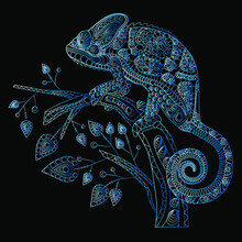 Decorative Stylization Of A Chameleon Lizard Sitting On A Branch With Leaves. Blue (neon) On A Black (dark) Background. Vector Illustration.