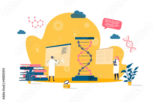 Biotechnology concept in flat style. Scientists in laboratory scene. Science research, DNA sequence cloning and recombination web banner. Vector illustration with people characters in work situation. © alexdndz
