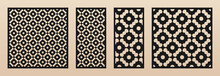 Laser Cut Panel Set. Vector Template With Geometric Patterns In Arabian Style, Floral Ornament, Oriental Grid. Decorative Stencil For Laser Cutting Of Wood, Metal, Acrylic Panel. Aspect Ratio 1:1, 1:2