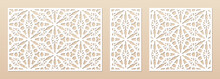 Laser Cut Pattern Set. Vector Design With Elegant Geometric Ornament, Abstract Floral Grid, Mesh. Template For Cnc Cutting, Decorative Panels Of Wood, Metal, Paper, Plastic. Aspect Ratio 3:2, 1:2, 1:2