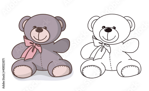Vector hand-drawn illustration of a cute teddy bear. Gift toy for Valentines day, birthday, Christmas, holiday.