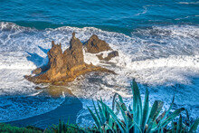 Tenerife, Rocks Washed By Waves