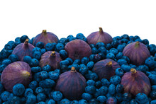 Blueberries, Figs, Raspberries Background.