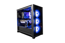 Isolated Black Destop Computer Middle Size Tower With LED RGB Light