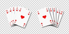 Vector Realistic Isolated Playing Cards With Royal Flush Poker Combination On The Transparent Background.