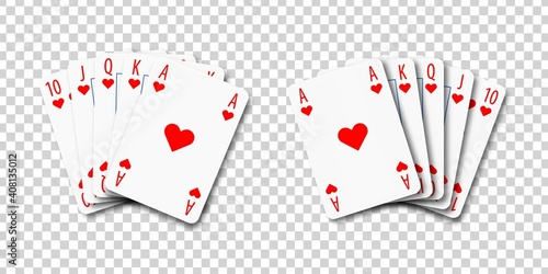 Obraz na plátně Vector realistic isolated playing cards with royal flush poker combination on the transparent background