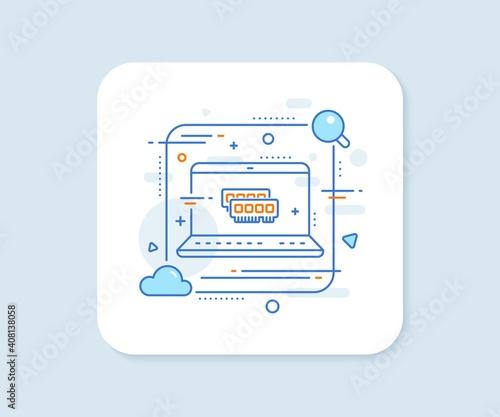 Ram line icon. Abstract vector button. Computer random-access memory component sign. Ram line icon. Laptop concept badge. Vector Wall mural