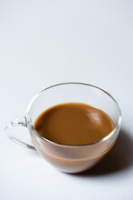 Clear Glass Of White Coffee On White Background