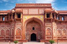 View Of Jahangir Palace In Sunny Day In Red Fort Complex In Agra, Uttar Pradesh, India