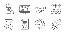 Correct Answer, Analytics Graph And Time Management Line Icons Set. Phone Payment, Startup Rocket And Recovery Data Signs. Approved Document, Evaporation Symbols. Quality Line Icons. Vector