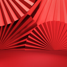 Chinese New Year, Red Abstract Background With Hand Paper Fan For Product Minimal Presentation, 3d Rendering.