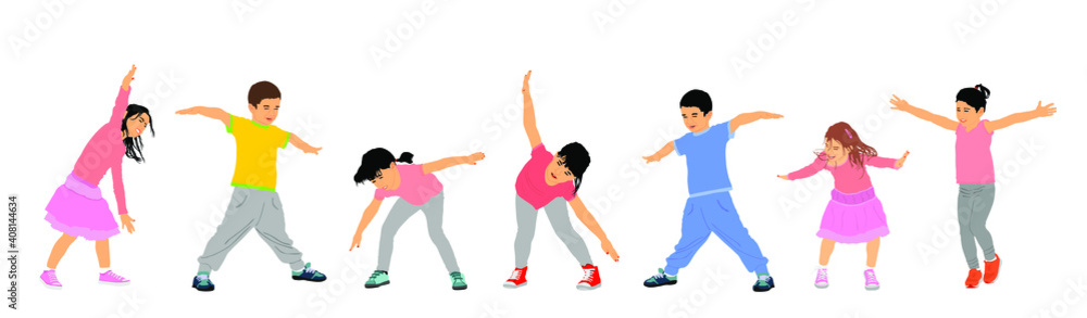 Fototapeta Happy joyful kids, little boys and girls doing exercise vector illustration isolated. Funny playing plane game. Spread hands flying symbol widespread hands open. Smiling children.