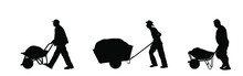 Construction Workers With Full Wheelbarrow Vector Silhouette Illustration. Man Carrying Loader With Sand. Transportation Carrying On Cart. Worker With Building Material On Site. Farmer Pushing Cart.