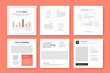 Business facebook and instagram layouts with elegant organization, chart graph with names of month, clean corporate web promotion