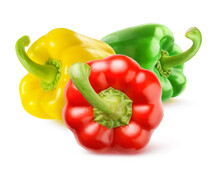 Three Fresh Bell Peppers Of Different Colors (red, Green And Yellow) Isolated On White Background