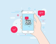 Get Extra 75 Percent Off Sale. Mobile Phone With Offer Message. Discount Offer Price Sign. Special Offer Symbol. Save 75 Percentages. Customer Service Banner. Extra Discount Badge Shape. Vector