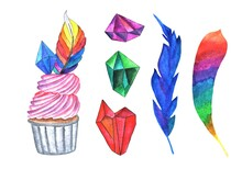 Set Of Watercolor Elements - A Cupcake With Pink Cream, A Rainbow Feather And A Blue Crystal, As Well As Two Multi-colored Feathers And Two Crystals (purple And Green) On A White Background.