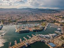 Aerial View Of Barcelona City. Barceloneta Beach And Port Olimpic. Catalonia, Spain