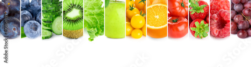 Collage of fruits, vegetables and berries. Fresh food. Healthy lifestyle