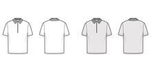 Shirt Zip Polo Technical Fashion Illustration With Short Sleeves, Tunic Length, Henley Neck, Flat Knit Collar. Apparel Top Outwear Template Front, Back, White, Grey Color. Women Men Unisex CAD Mockup