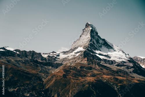 Mountain landscape with views of the Matterhorn peak in Zermatt, Switzerland фототапет
